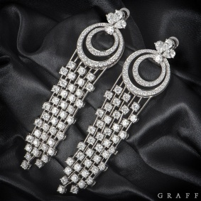 Graff White Gold Diamond Waterfall Drop Earrings
